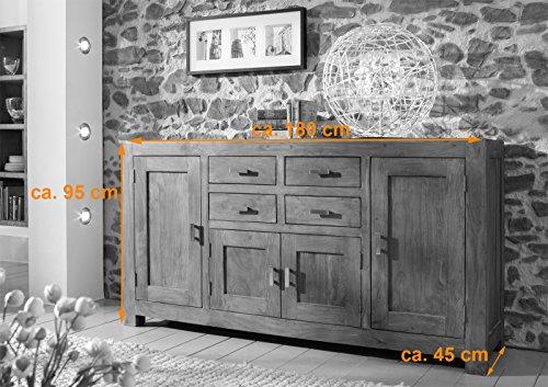SAM® Kommode Saber 6649 aus Akazienholz, Sideboard stonefarben, massiv, 4 Schubladen, 4 Holztüren, viel Stauraum - 2