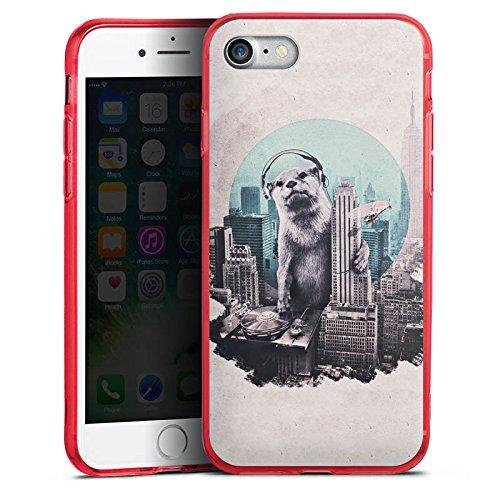 Apple iPhone 8 Silikon Hülle Case Schutzhülle Otter Stadt City Silikon Colour Case rot