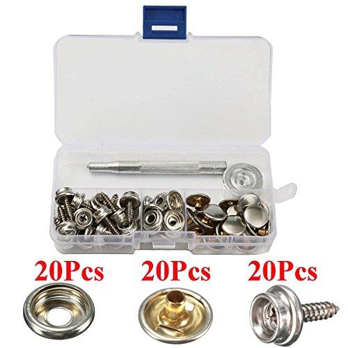 20 Sets 15 mm 5/8 Nähfreie Druckknöpfe aus Metall Button Näharbeiten mit Punch Set Werkzeug in Aufbewahrungsbox -