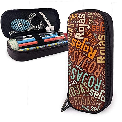 Rojas American Nachnamen Große Kapazität Leder Federmäppchen Stifthalter Große Aufbewahrungstasche Box Organizer Office Make-up Stift Tragbare Kosmetiktasche