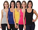 Friskers multi Colored Cotton Rib Tank top pack of 5