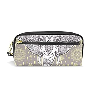 coosun Boho Vector étnico elefante sin fisuras patrón portátil piel sintética estuche escolar pluma bolsas papelería funda gran capacidad de maquillaje bolsa