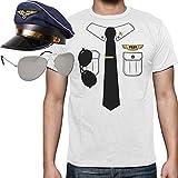 Pilot Pilotenkostüm Karneval - SET mit Pilotenhemd-T-Shirt, Kapitänsmütze und Pilotenbrille Small Weiß