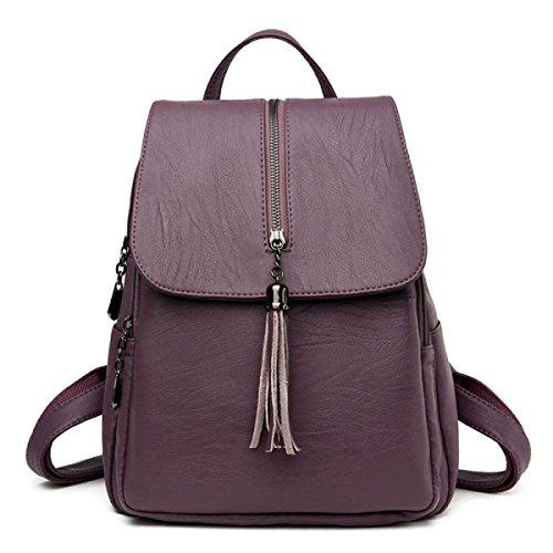QPALZM 2017 Die Neue Groß-Kapazität Mädchen Tasche College Mode Mode Frau Troddel Rucksack Reisetasche Leichte Purple