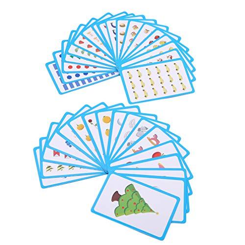LJSLYJ 36 Stück Literacy Educational Baby Flash Cards Learn Inglés Karte Word-Literacy Educational Cards, blau
