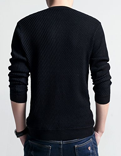 BOMOVO Herren Knopf V-Ausschnitt Feinstrick Strickpullover Pullover Sweatshirts Schwarz