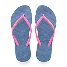 Havaianas Girls' Slim Logo Flip Flops, Blue, 8/9 UK Child