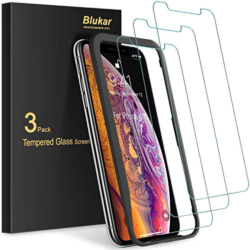 [3 Stück] Panzerglas für iPhone XS/iPhone X Schutzfolie, Blukar Panzerglasfolie Mit Positionierhilfe, 9H-Härte, Anti-Bläschen, Anti-Kratzen für iPhone XS/X
