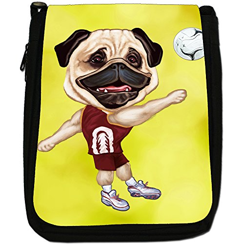 Pug-Athlete Rugby-Pallone da calcio, Tennis-Borsa a tracolla in tela, colore: nero, taglia: M Nero (Volleyball Pug Playing Shorts)