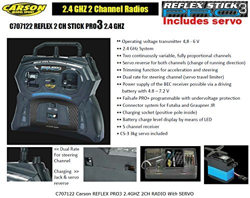 Carson 2.4 GHz 2 Channel Transmitter with Receiver and Servo for Tamiya RC Kits # 707122 (Replaces Acoms Techniplus Radio)