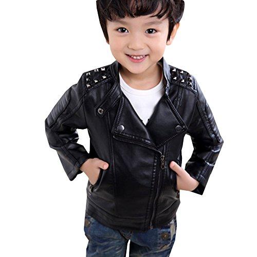 LSERVER Mode Jacke Junge PU Lederjacke Kinder Mantel Outwear mit Flaum,152