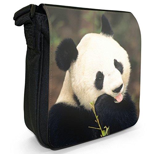 Panda piccolo nero Tela Borsa a tracolla, taglia S Panda Bear Eating Bamboo