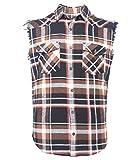 SOOPO Herren Ärmellose Kariert Flanell Hemden Freizeithemd aus Baumwolle Sleeveless T-Shirt schwarz&braun 3XL