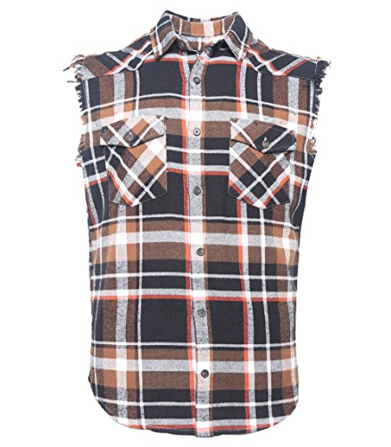 SOOPO Herren Ärmellose Kariert Flanell Hemden Freizeithemd aus Baumwolle Sleeveless T-Shirt schwarz&braun M (Kurzarm-tactical Blau Shirt)