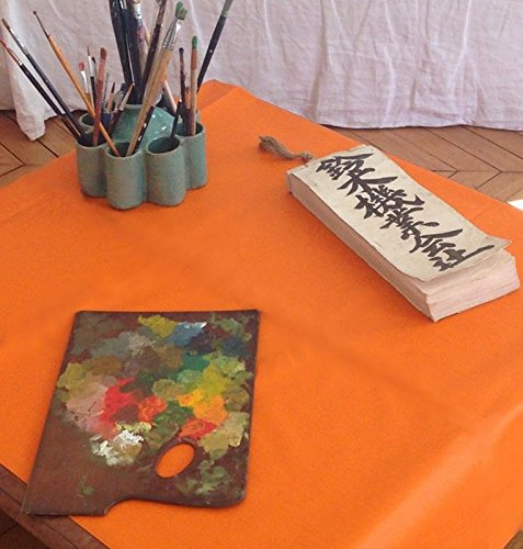 Fleur de soleil Nappe Unis Orange Coton Enduit 120x120