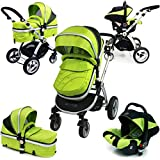i-Safe System - Lime Trio Travel System Pram & Luxury Stroller 3 in