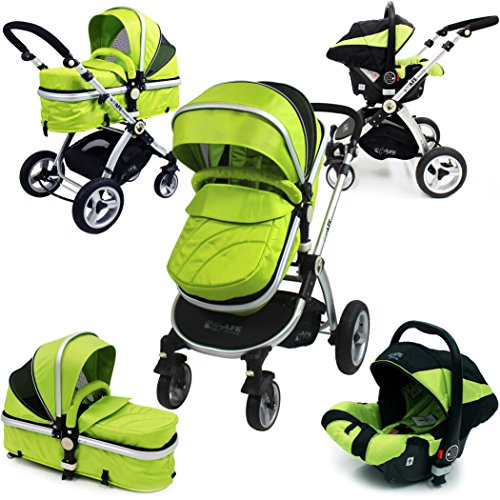 i-Safe System – Lime Trio Travel System Pram & Luxury Stroller 3 in 1 Complete With Car Seat 51pH5JZTfUL