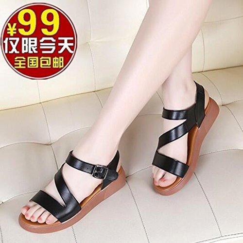 XY&GKSandalen Damen Sommer Leder flach mit Frauen Sandalen Rutschfeste Flachbild Hausschuhe, komfortabel und schön 38 black (sandals)