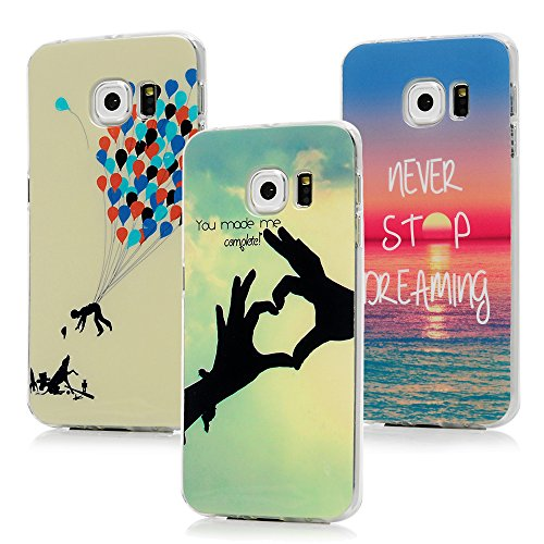 3x Funda para Samsung Galaxy S6 Edge, Carcasa de TPU Silicona Suave Alta Resistencia a los Arañazos Desgastes Suciedades Case Cover Pintado para Samsung Galaxy S6 Edge - MAXFE.CO