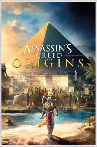 Assassin's Creed Poster Origins Cover (93x62 cm) gerahmt in: Rahmen weiss