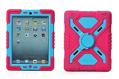 Y & M (TM) iPad 2/3/4Case, Pepkoo Extreme Military Heavy Duty Staub/stoßfest mit Ständer Tabletten Cover Hybrid-Hartschale Army Schutzhülle für iPad 2/3/4, Rose/Blue (Tabletten De Cover)