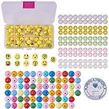 SUNNYCLUE 1 Set 221pcs Emoji Smiley Emoticons Face Ball Beads Bracelet Craft Kit - DIY Hace