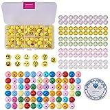 SUNNYCLUE 1 Set 221pcs Emoji Smiley Emoticons Face Ball Beads Bracelet Craft Kit - DIY Hace 7 Pulseras de Emoji