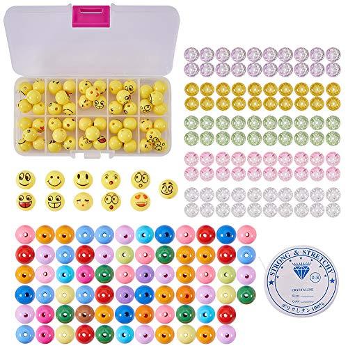 SUNNYCLUE 1 Set 221pcs Emoji Smiley Emoticons Gesicht Ball Perlen Armband Craft Kit - DIY Macht 7 Emoji Armbänder (Familie Spaß Halloween-handwerk-kits)