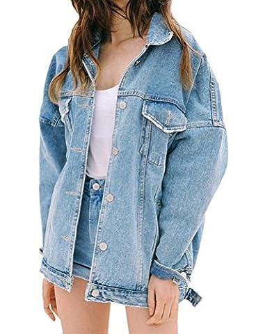 Brinny Rétro Manteau en Denim Boyfriend Style Lâche Washed Oversize Longue Veste Jeans Blouson Tops Single-breasted , Bleu Clair - L