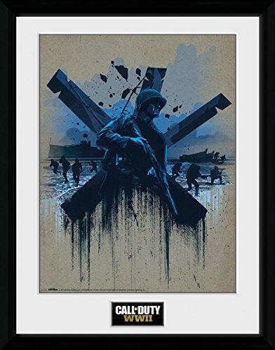 Preisvergleich Produktbild 1art1 108384 Call Of Duty - WWII Front Line Beach Gerahmtes Poster Für Fans Und Sammler 40 x 30 cm