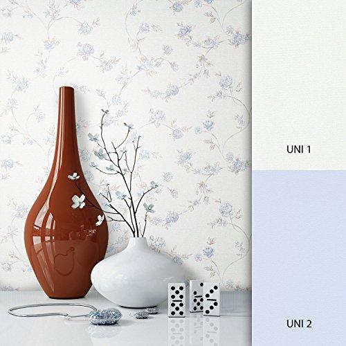 Blätter Blau-tapeten (NEWROOM Blumentapete Tapete Blau Blumen Blätter Floral Vliestapete Vlies moderne Design Optik Blumentapete Modern inkl. Tapezier Ratgeber)