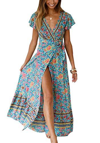 Ajpguot Sommer Damen Lange Kleider Kurzarm V-Ausschnitt Strandkleider Blumen Kleid Maxikleid mit Schlitz Partykleider Abendkleid, Grün, M (Sexy Schlitz Ballkleid)