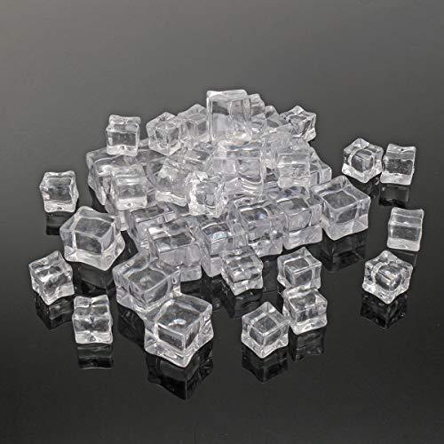 HELEISH 50 Stücke Crystal Clear Künstliche Acryl Eiswürfel Square Decor Foto Fotografie Requisiten Dekorationen Zubehörwerkzeug Crystal Square Vase