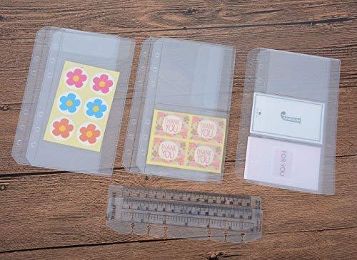 funcoo 6-Ring-Kunststoff Binder Taschen/Bill Tasche/Name Card Kreditkarte Halterung Tasche, Set von 6Binder Planer Notebook Refills Taschen + 2Kunststoff Seite Marker Meßlineal A6 farblos