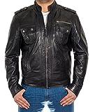 A to Z Leather Herren schwarz Weich-Nappaleder-Lederjacke mit Nieten Taschen