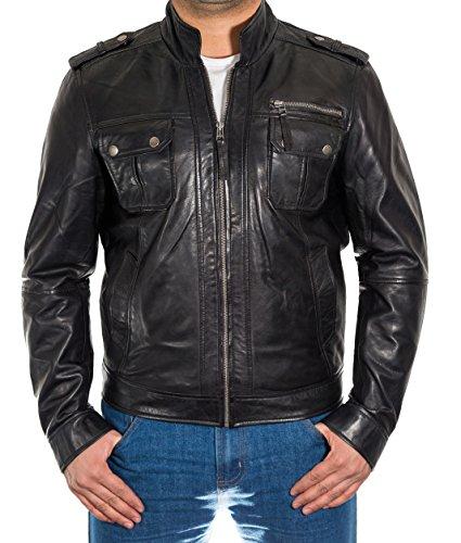 Zip avant Mens Stud fixation poches dŽtaillŽes Veste en cuir Noir