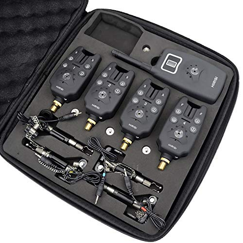 hirisi Wireless Bite Alarm 1+ 4Set mit 4Stück Illuminated Swinger in EVA Fall für Karpfenangeln