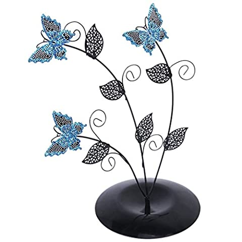 LanLan Blue Butterfly Tree Leave Shape Jewelry Stand Earring Holder Organizer Display Rack