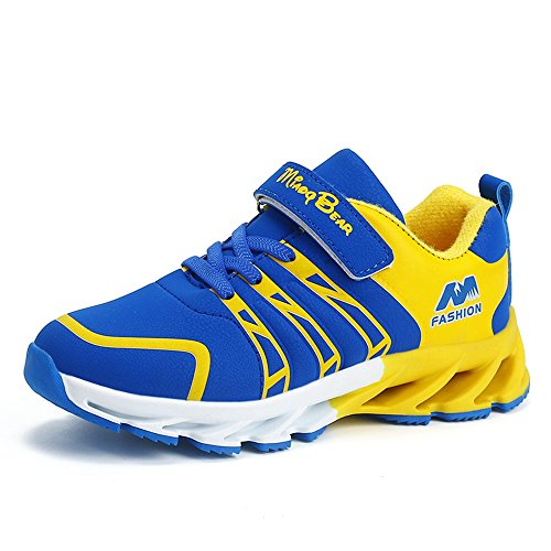SITAILE Unisex- Kinder Sportschuhe Atmungsaktiv Sneaker Laufschuhe Shuhe Klettverschluss Bequeme Turnschuhe Wanderschuhe Shoes für Jungen Mädchen Outdoor,Blau,31