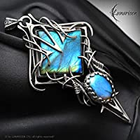 Wire wrapped pendant gift for woman wire wrap labradorite pendant silver pendant gift gothic necklace