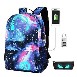 a5d4b8d0a5 Anime di Moda Zaino Luminoso Scuola,Antifurto Viaggio Zaino Borsa Cool  Ragazzi Ragazze Tela Backpack ...