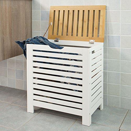 SoBuy® Wäschetruhe weiß+natur, FSS48-WN, 50x30x55,5cm - 2
