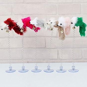 Fausses souris avec ventouse, jouet pour chat, couleur des plumes aléatoire.