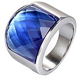 PAURO Hombre Mujer Acero Inoxidable Plata Cuadrado Simple Gran Piedra Preciosa Brillante Anillo Ancho Azul Tamaño 14