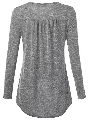 DJT Damen Casual Bluse Langarm T-Shirt Tops mit V-ausschnitt Grau-2