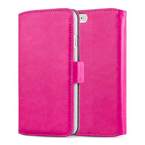 iPhone 4 Hülle, JAMMYLIZARD Luxuriöse Flip Cover Ledertasche mit Kartenfach für iPhone 4 & 4s, SCHWARZ KNALLROSA
