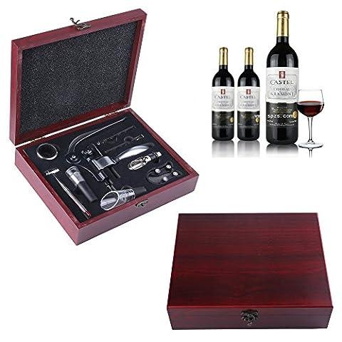 Ouvre-bouteilles de vin, GWCLEO 9pcs Ouvre-bouteilles en vin d'acier inoxydable Ouvre-bouteilles en vin d'acier inoxydable Levier de lapin Tire-bouchon, tire-bouchon, aérateur, thermomètre, bouchon et accessoires