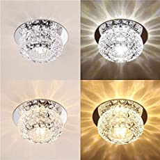 Rishil World 3W 5W Modern Round Shape Warm White Pure White Crystal LED Ceiling Light Chandelier Downlight
