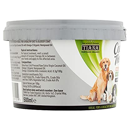 TIANA® Fair Trade Organics Coconut Oil Omega 3 Supplement For Dogs 500ml (Pack of 1) 2
