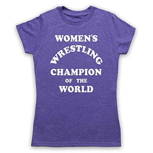 Women's Wrestling Champion Of The World Damen T-Shirt Jahrgang Violett